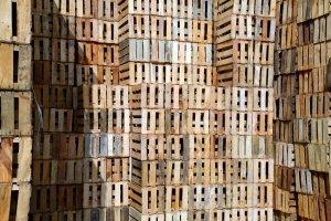 Cajas de madera de fruta apilables